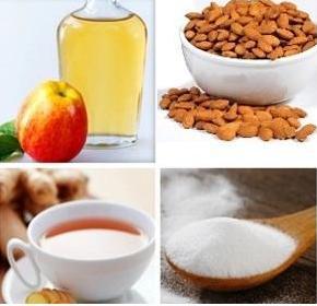 immagini di rimedi naturali , bicarbonato, tisane , alimenti